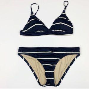 J. Crew Navy Striped Bikini